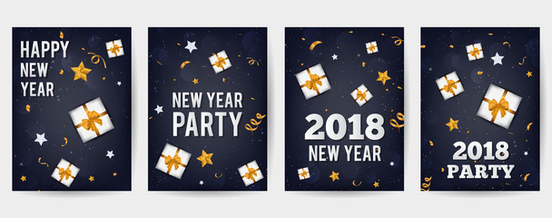 Vector illustration of happy new year 2018 gold and black colors place for text Christmas balls, stars, snowflakes, gift box, confetti, flyer brochure