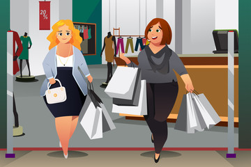 Women Shopping in a Mall Illustration