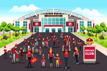 Soccer Fans Going to Stadium Illustration