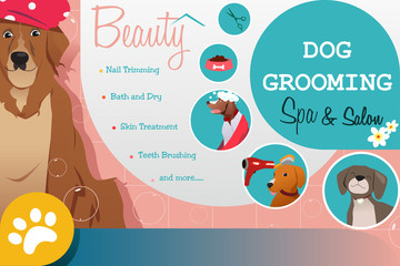Dog Grooming Salon Poster Illustration