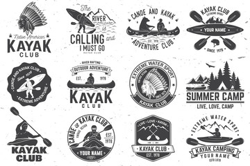 Set of canoe and kayak club badges. Vector illustration.