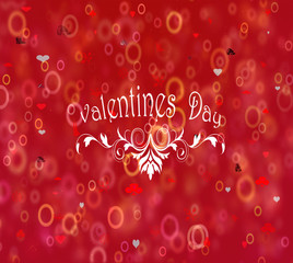 Valentines Day, Decorative lettering on a red background.