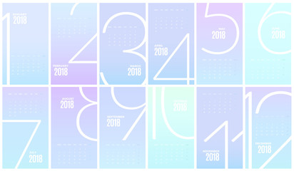 Wall Monthly Calendar 2018 year. Vector Template
