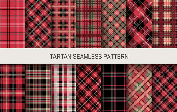Tartan seamless patterns in red and black colors
