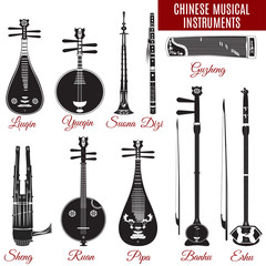 Vector set of black and white chinese musical instruments