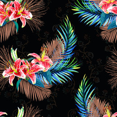 Seamless floral pattern with beautiful watercolor palm leaves and lilies. Colorful jungle foliage with bronze metallic elements on paisley background. Textile design.