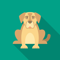 Dog icon with long shadow. Flat design style. Dog simple silhouette. Modern, minimalist icon in stylish colors. Web site page and mobile app design vector element.