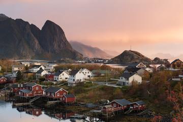 Beautiful landscape from Reine fishing village at sunset