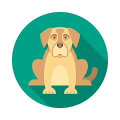 Dog circle icon with long shadow. Flat design style. Dog simple silhouette. Modern, minimalist, round icon in stylish colors. Web site page and mobile app design vector element.