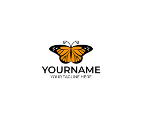 Butterfly danaida monarch logo template. Insect vector design. Animal illustration