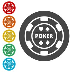 Casino chip icon, Poker icon