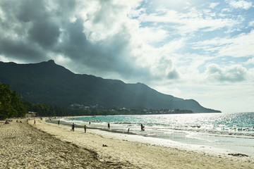 Beau Vallon Beach, Seychelles - Nov 26 2017: A day on the Beau Vallon beach with tourists , Mahe island, Seychelles