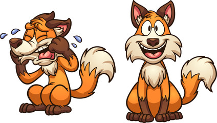 Cartoon happy and sad fox. Vector clip art illustration with simple gradients. Each on a separate layer.