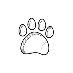 Vector hand drawn Paw print outline doodle icon. Paw print sketch illustration for print, web, mobile and infographics isolated on white background.