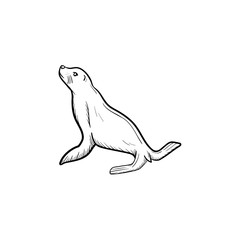 Vector hand drawn Fur seal outline doodle icon. Fur seal sketch illustration for print, web, mobile and infographics isolated on white background.