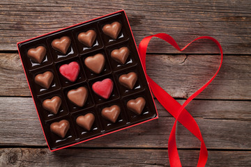 Valentines day greeting with heart chocolate box