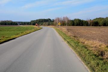 droga asfaltowa przez pola i lasy