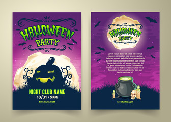 Happy Halloween party invitation or flyer vector template. Spooky cartoon night background with scary pumpkin, bats, skull, candles, pot with magical potion. Front and back sides with places for text