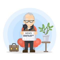 Grandfather reading news.