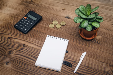 Tax inspector or banker desk table background. Notepad with copy space, pen, calculator and green plant tree on wooden table top view.
