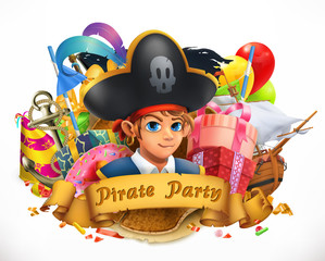 Pirate party. Children holiday 3d vector emblem