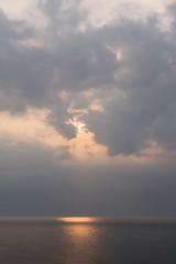 Beautiful sunset above the sea of Okhotsk seen from the coast of the Shiretoko Peninsula, Hokkaido, Japan