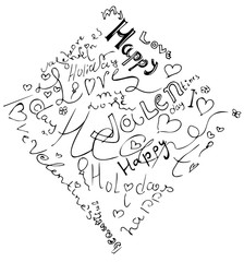 Happy valentine day heart from symbol. Included happy valentines day and love with holiday words. Black and white hand drawing vector illustration of rhombus shape.