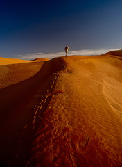 hike on the sand dunes of the sahara