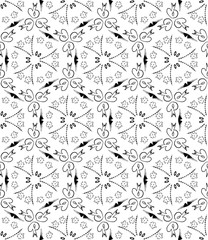 Kaleidoscope  pattern vector.  Psychedelic design element for wallpaper, scrapbooking, fabric. Monochrome background.