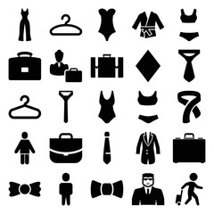 Suit icons. set of 25 editable filled suit icons