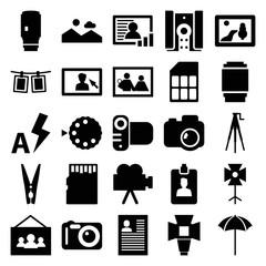 Photo icons. set of 25 editable filled photo icons