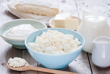 Foto op Canvas Zuivelproducten Organic Farming Cottage cheese in a blue bowl, sour cream, butter, cheese and milk