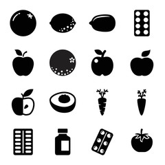 Vitamin icons. set of 16 editable filled vitamin icons