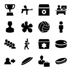 Team icons. set of 16 editable filled team icons