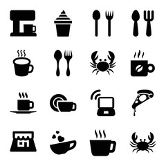 Cafe icons. set of 16 editable filled cafe icons