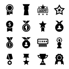 Prize icons. set of 16 editable filled prize icons