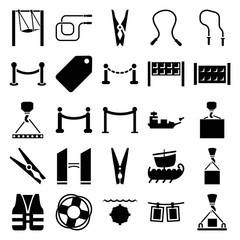 Rope icons. set of 25 editable filled rope icons