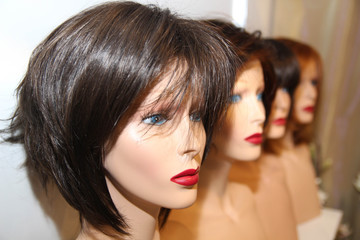 Different color wigs. Hair style