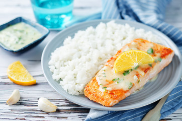 Salmon with Garlic Lemon Butter Sauce and rice