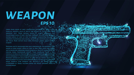 The gun of the particles. The weapon consists of circles and points. Vector illustration.