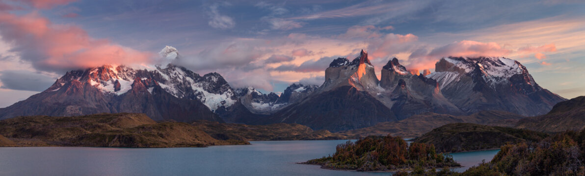 The Torres del Paine National Park. Scenic panorama landscape: mountains, glaciers, lakes and rivers in southern Patagonia, Chile.