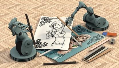 Robots maken portret tekeningen