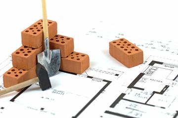 Hausbau, Bauzeichnung, Ziegelsteine