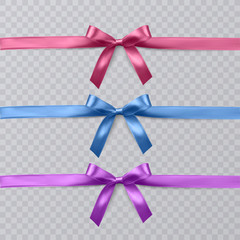 Set of vector realistic pink, purple and blue ribbon and bows on transparent background. Vector eps 10