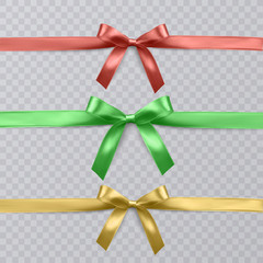 Set of vector realistic red, green and yellow ribbon and bows on transparent background. Vector eps 10
