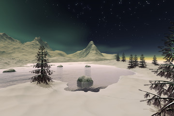 Frozen lake, a polar landscape, snowy trees, stars and aurora in the sky.