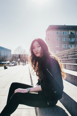 Berlin Street Style - Cool Mongolian Girl Wearing Black Bomber Jacket