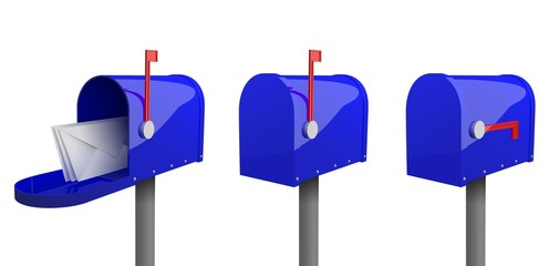 A set of mailboxes with a closed door, a raised flag, with an open door and letters inside. 3d illustration of blue mailbox with envelope, isolated on white background. Realistic vector illustration.