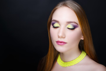 woman bright make up