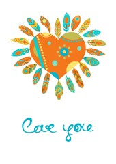 Bohemian style poster with gypsy colorful feathers, arranged around heart isolated on white background.vector illustration.love you.